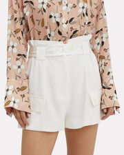 Belted High-Rise Linen Shorts, WHITE, hi-res