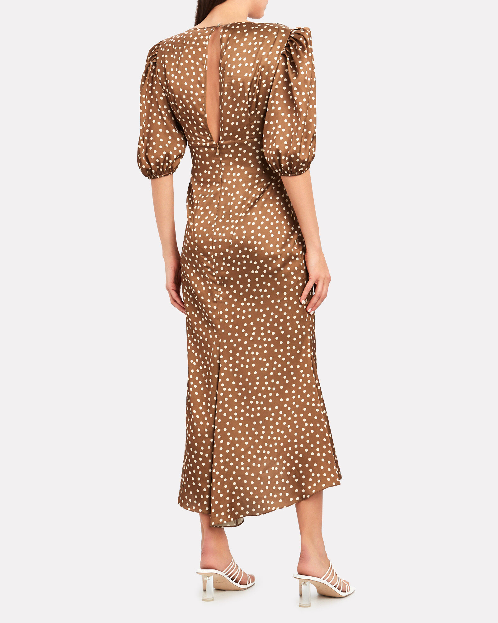 Callie Polka Dot Chiffon Dress, PECAN/POLKA DOT, hi-res