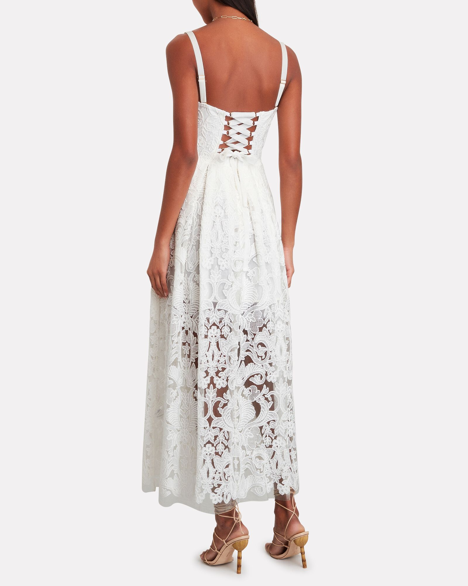 Ariana Sleeveless Lace Midi Dress, WHITE, hi-res
