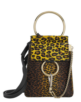 Mini Faye Leopard Haircalf Bracelet Bag, BROWN, hi-res