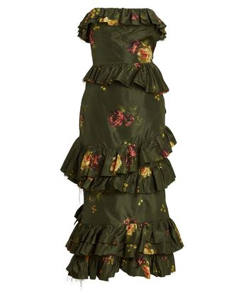 Strapless Floral Taffeta Midi Dress, GREEN, hi-res