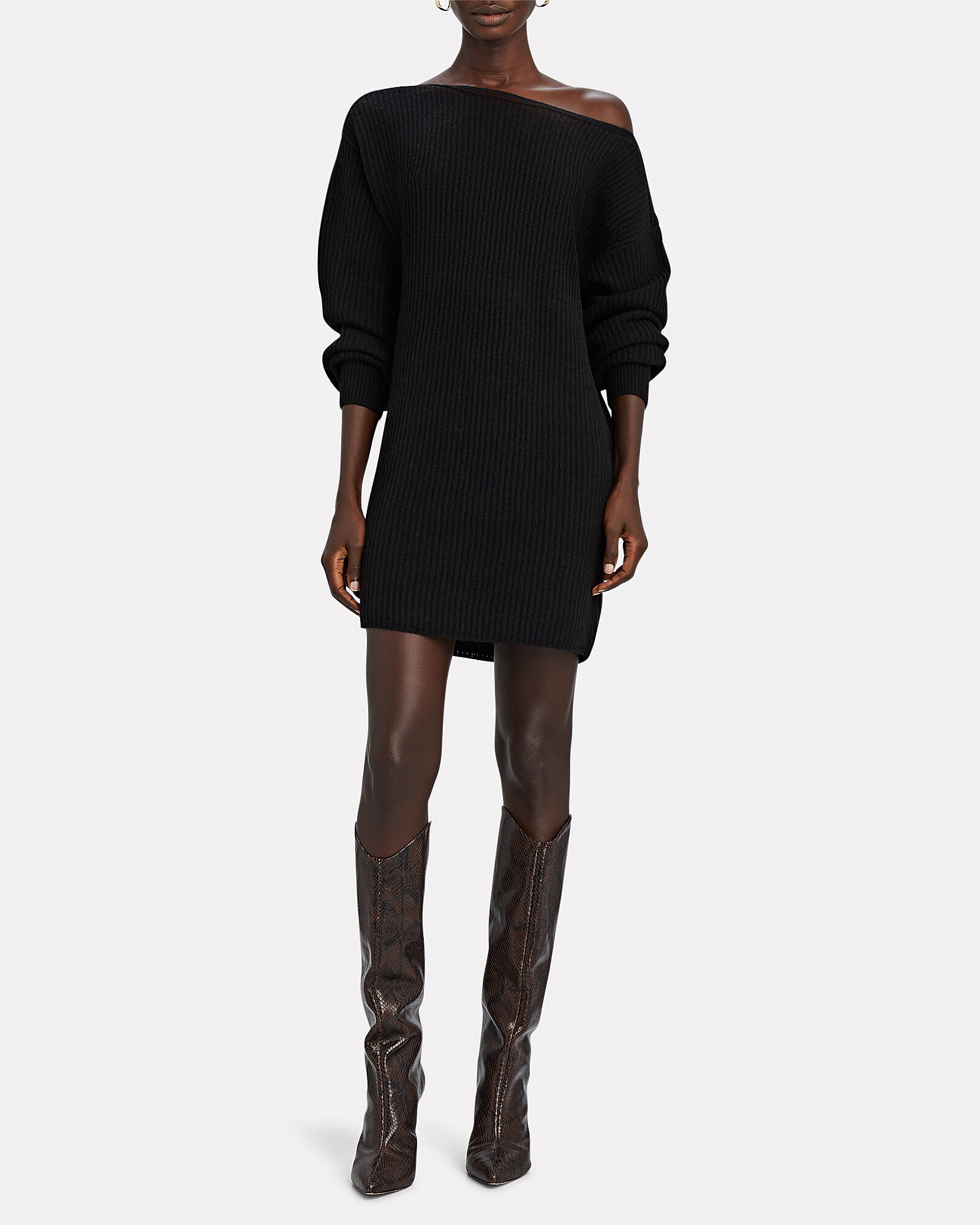 Jackie Wool-Cashmere Sweater Dress, BLACK, hi-res