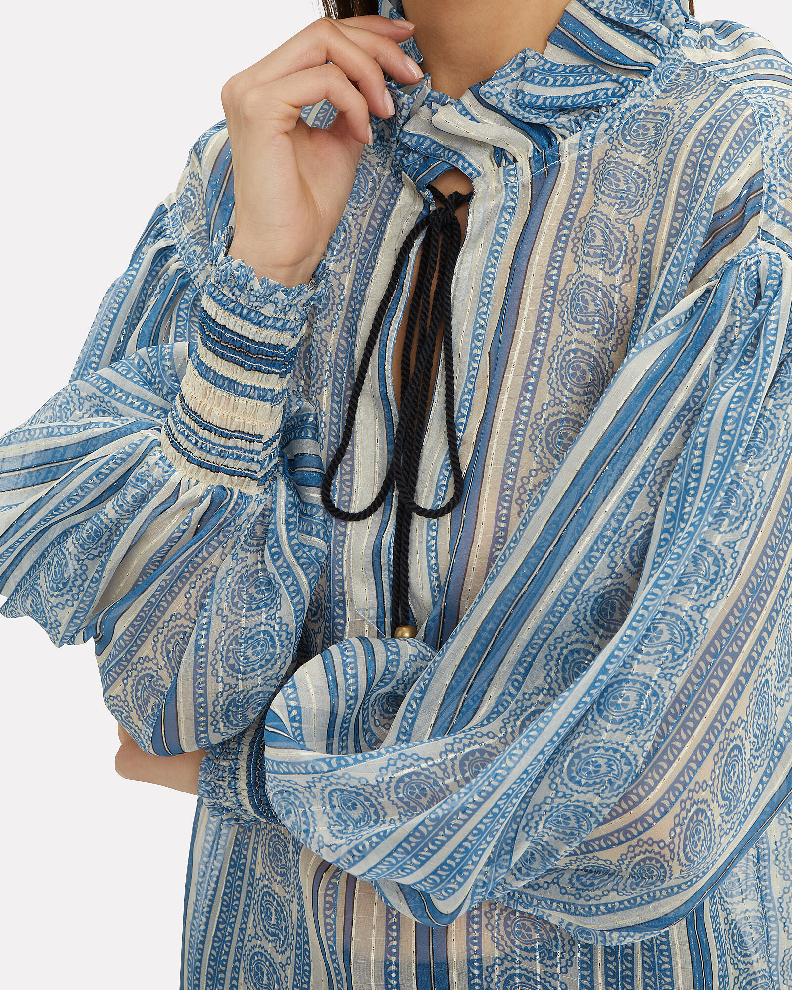 Tie Neck Balloon Sleeve Blouse, BLUE-MED, hi-res
