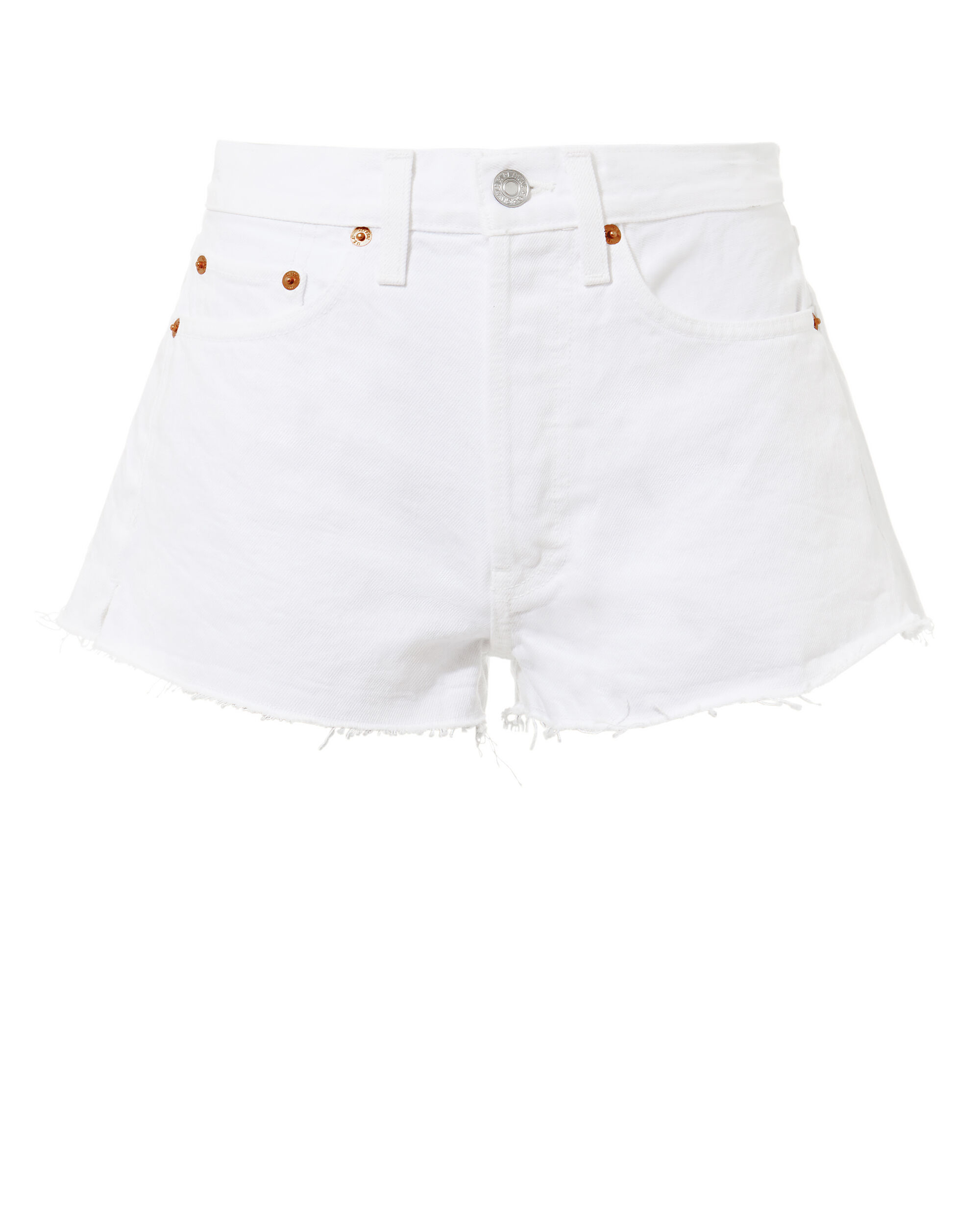 White Denim Shorts, WHITE, hi-res