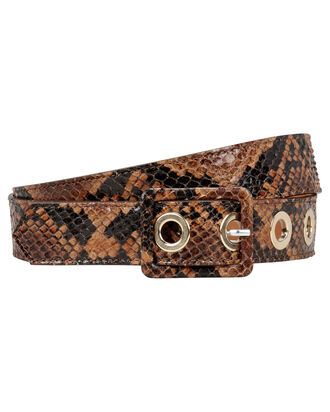 Python-Printed Leather Waist Belt, BROWN, hi-res