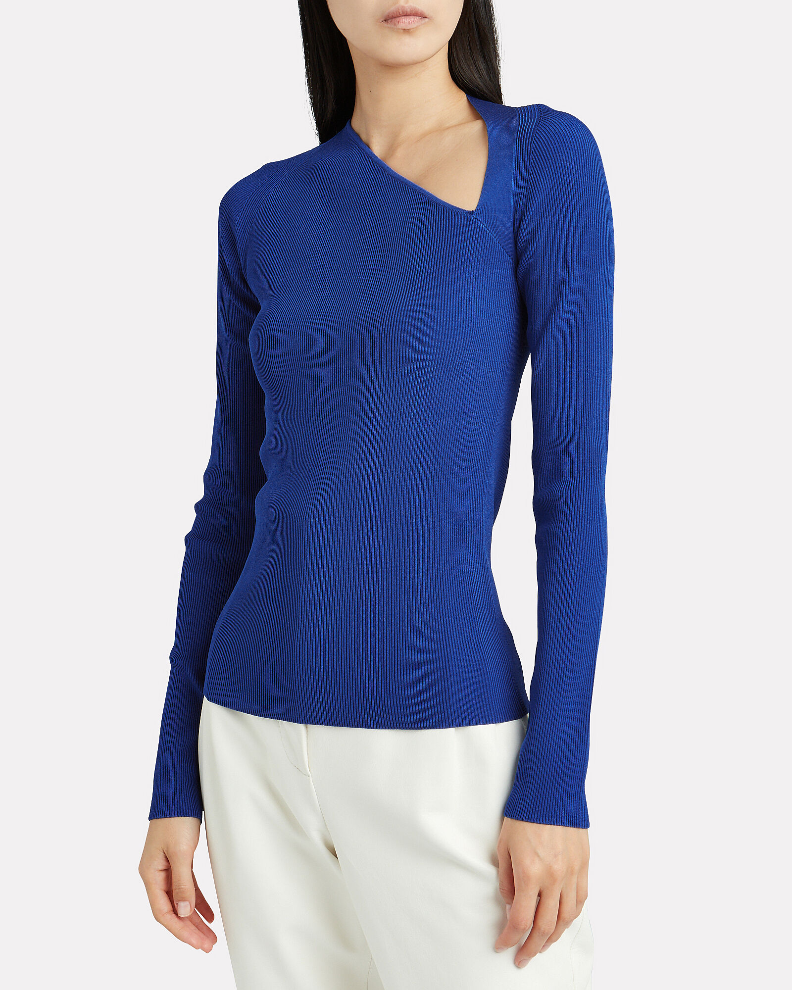 Asymmetric Rib Knit Top, YALE BLUE, hi-res