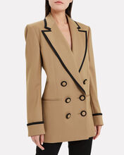 Contrast Trim Double Breasted Blazer, CAMEL, hi-res