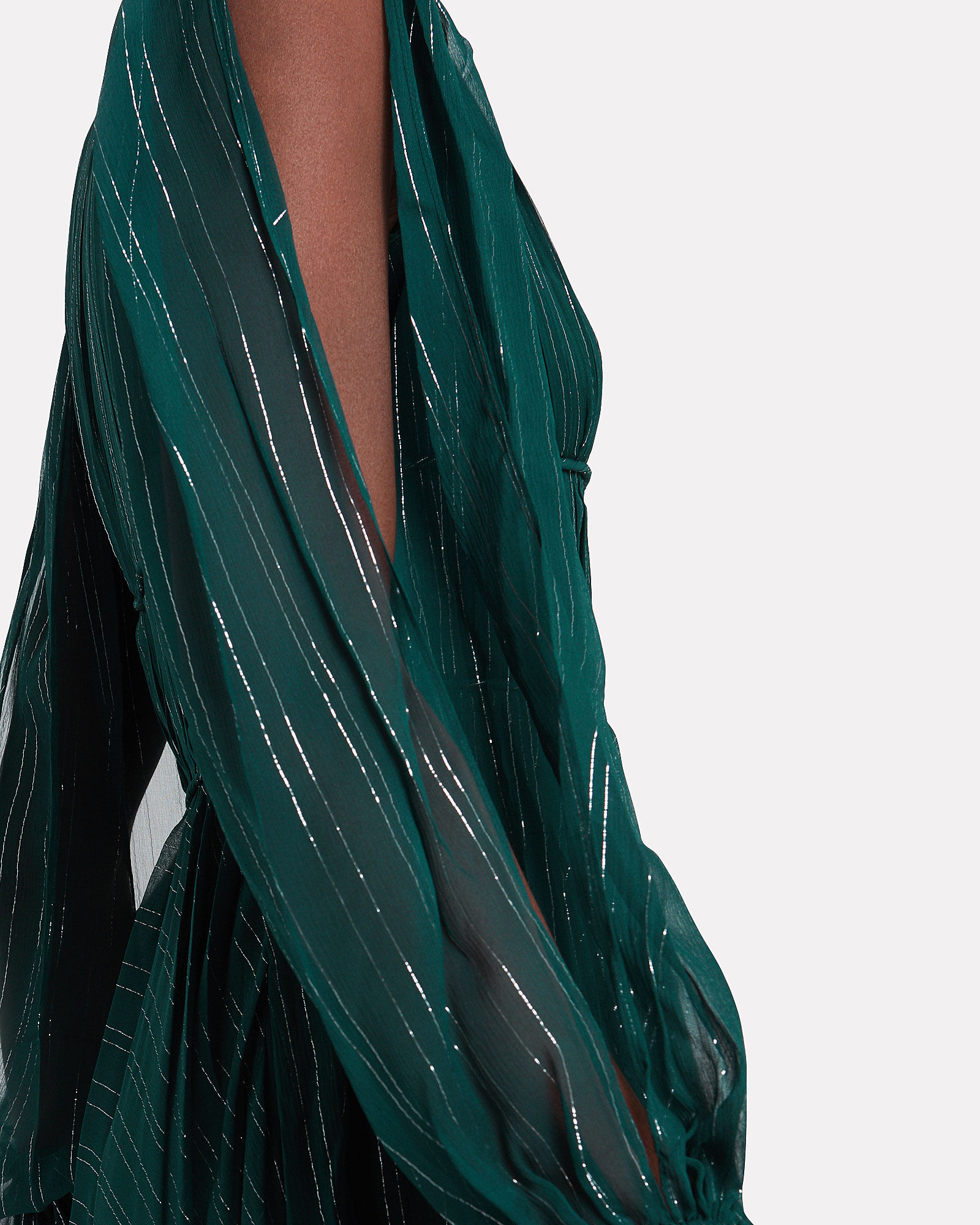 Heidi Metallic Striped Silk Dress, EMERALD, hi-res
