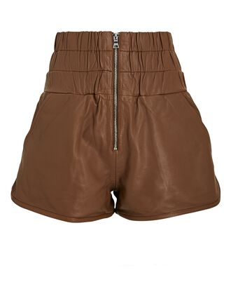 Ali High-Waist Leather Shorts, BROWN, hi-res