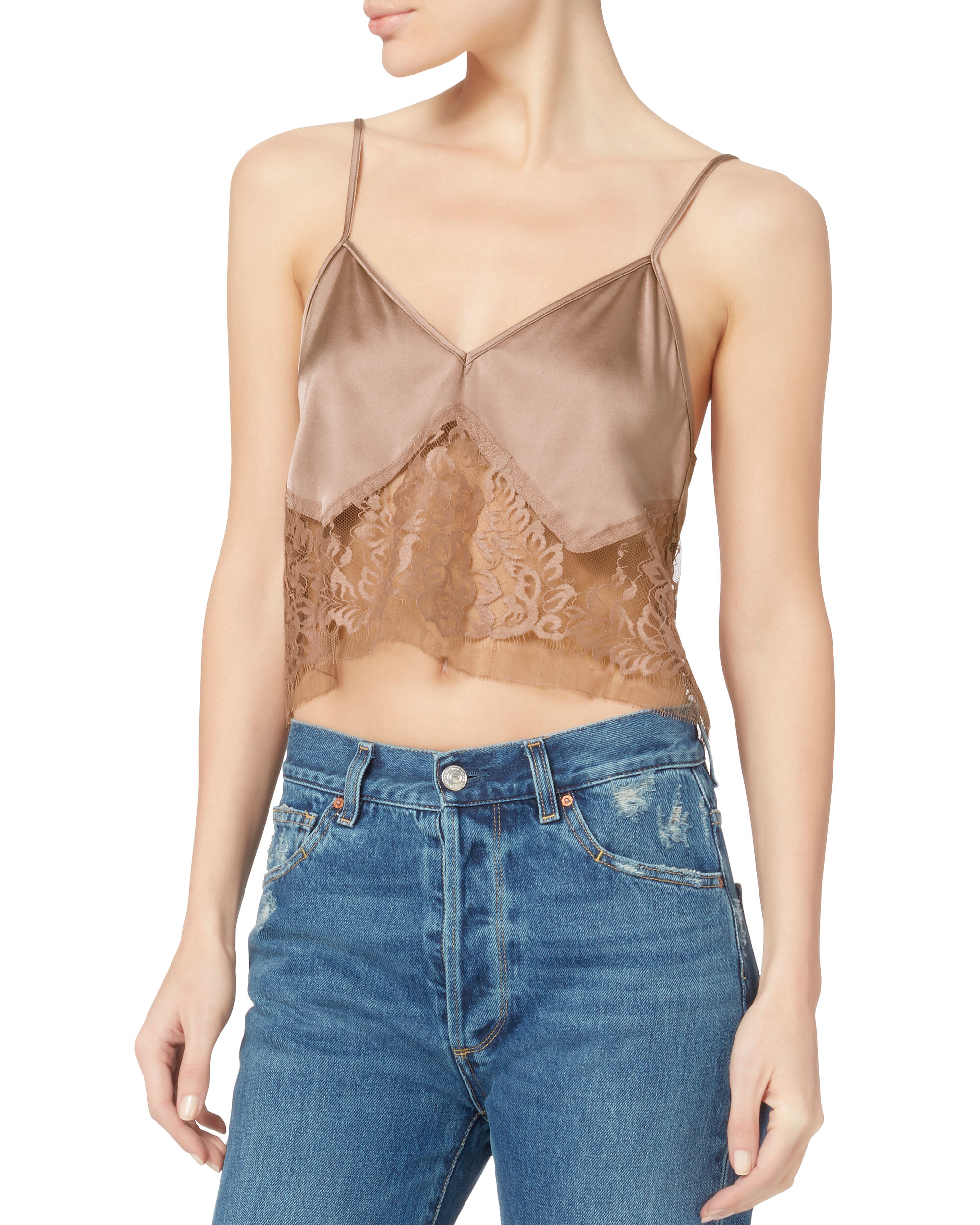 Blush Lace Camisole Layered T-Shirt, NUDE, hi-res
