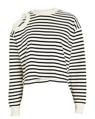 Striped Cut-Out Cotton Jersey Top, MULTI, hi-res