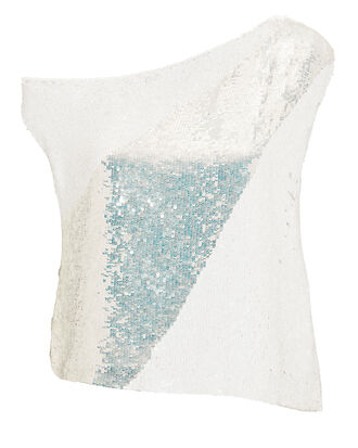 Michelle Off-Shoulder Sequin Blouse, WHITE/METALLIC, hi-res