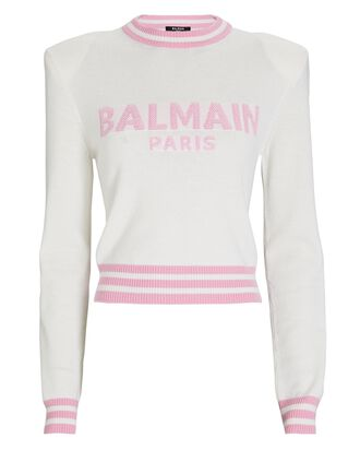 Cropped Wool-Cashmere Logo Sweater, WHITE/PINK, hi-res