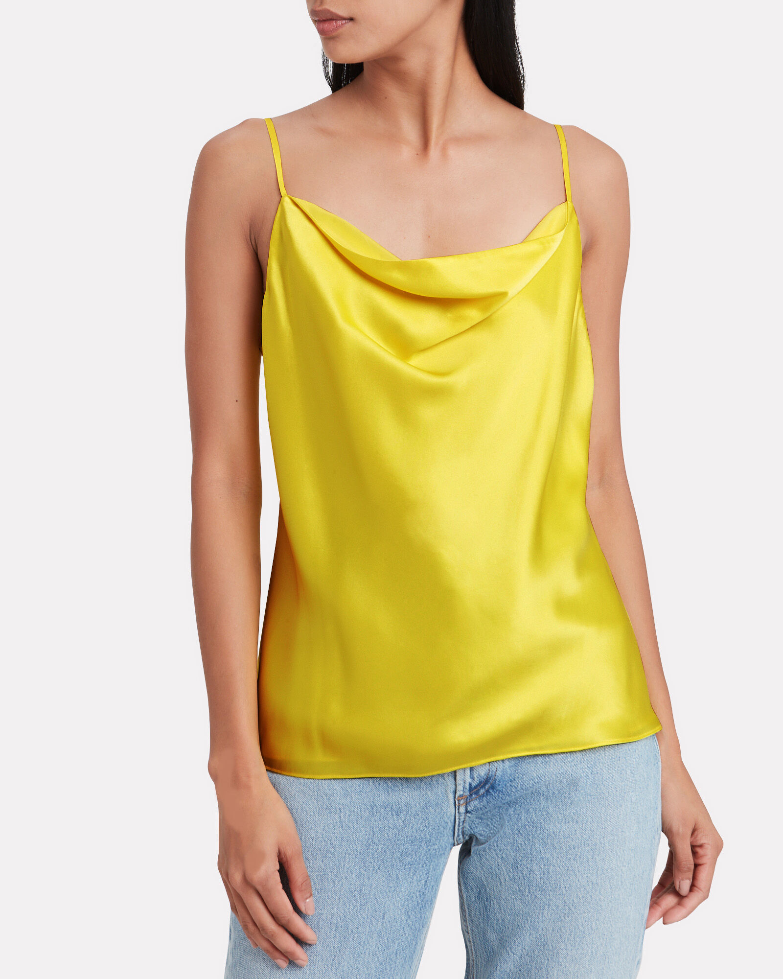 Kay Silk Cowl Neck Camisole, YELLOW, hi-res