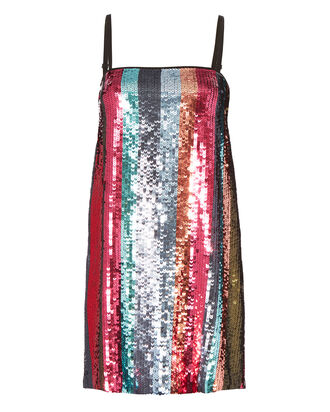 Erykah Sequin-Striped Mini Dress, MULTI, hi-res