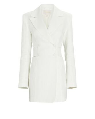 Linen Cut-Out Blazer Dress, WHITE, hi-res