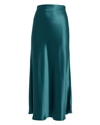 Valletta Satin Midi Skirt, BLUE, hi-res