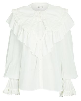 Heritage Ruffled Cotton Voile Blouse, IVORY, hi-res