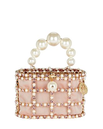 Holli Cage Pearl And Crystal Clutch, PINK, hi-res