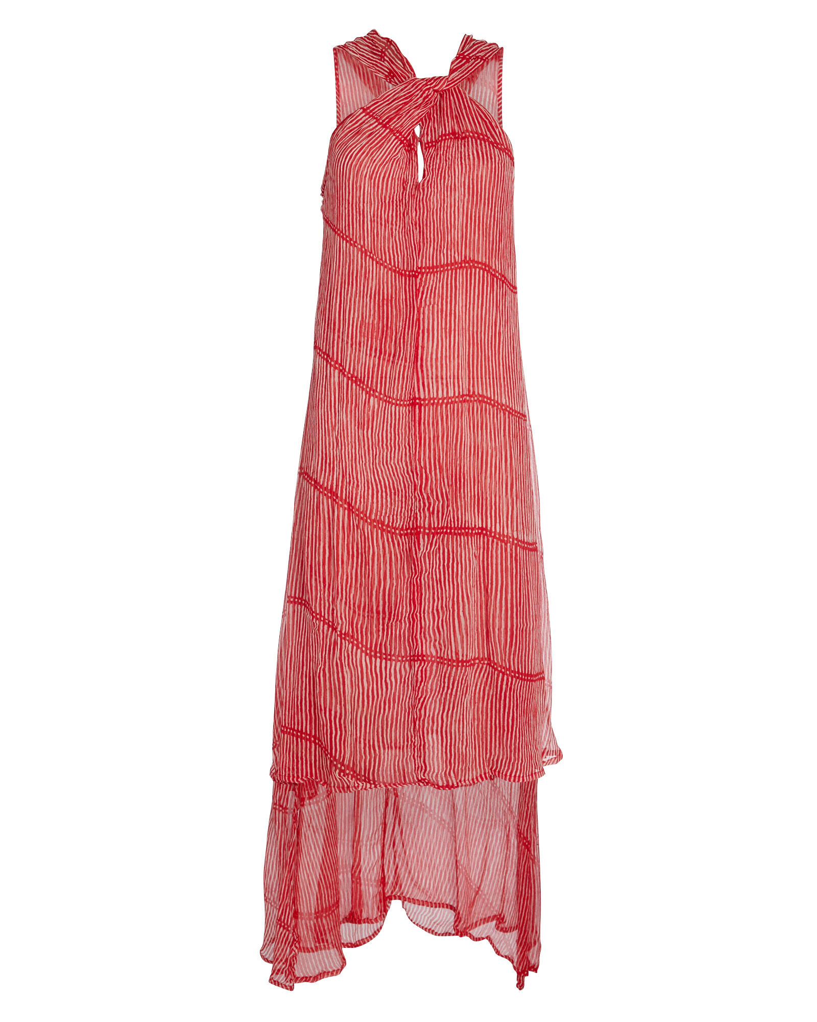 Ruby Layered Silk Striped Dress, RED, hi-res