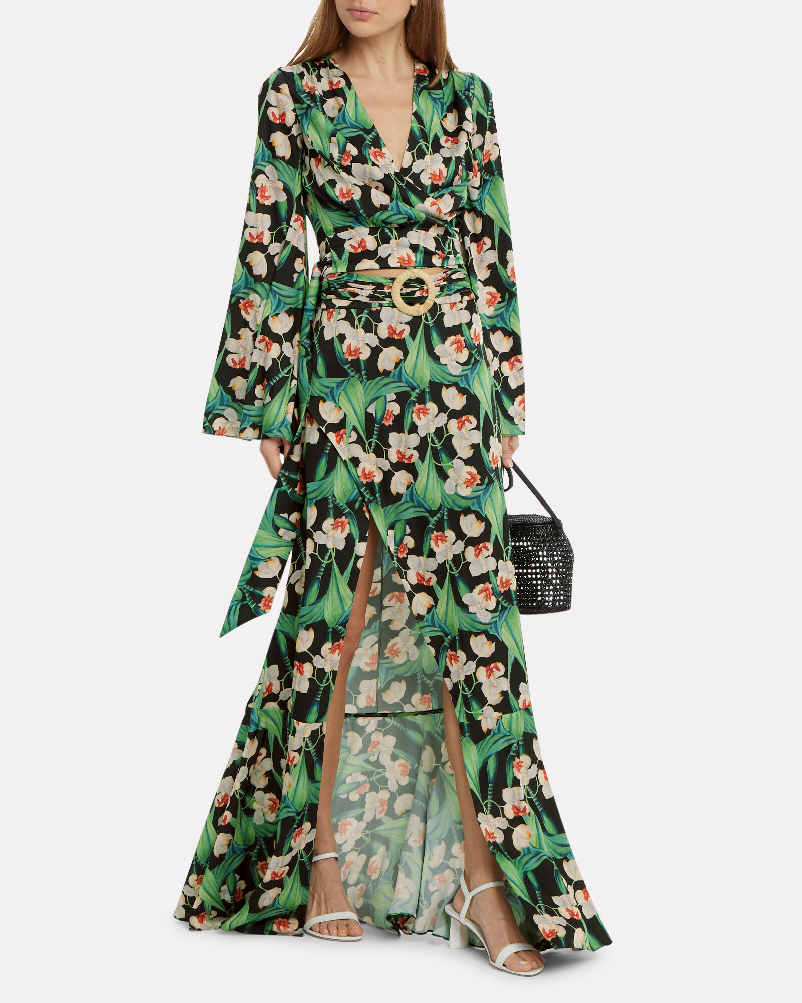 Floral Belted Maxi Skirt, MULTI, hi-res