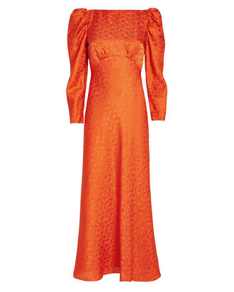 Alena Puff Sleeve Silk Jacquard Dress, ORANGE, hi-res