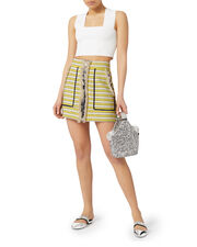 Lynden Fringed Striped Mini Skirt, YELLOW, hi-res