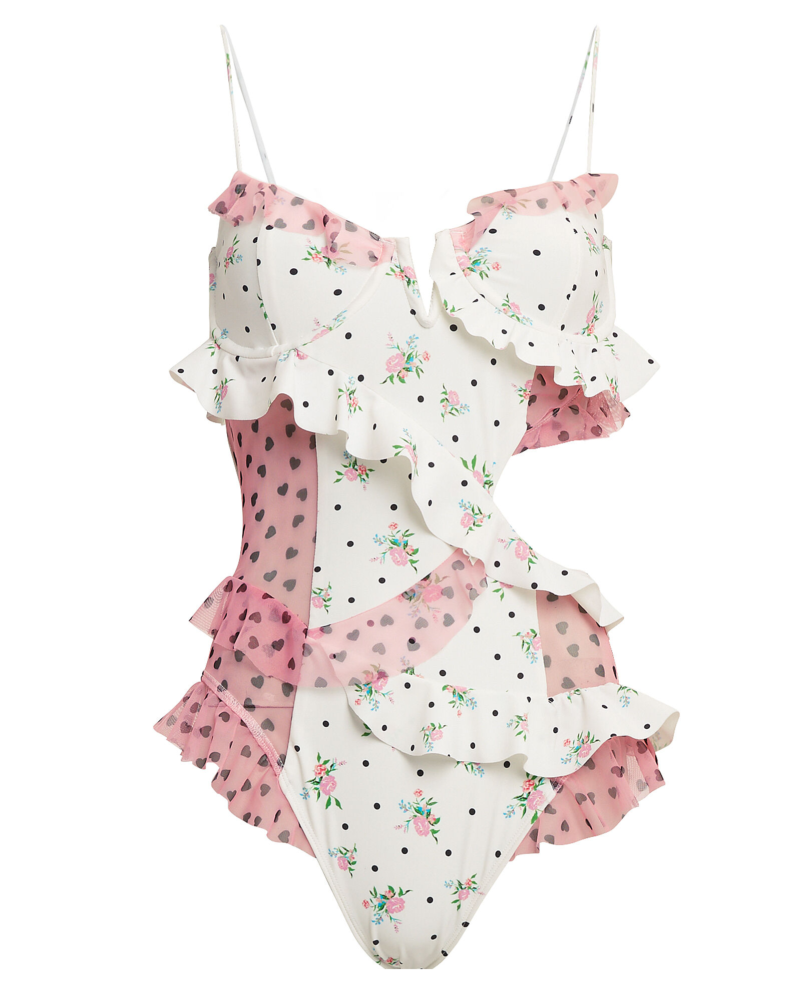 Naomi Ruffle One Piece Swimsuit, PINK FLORAL, hi-res