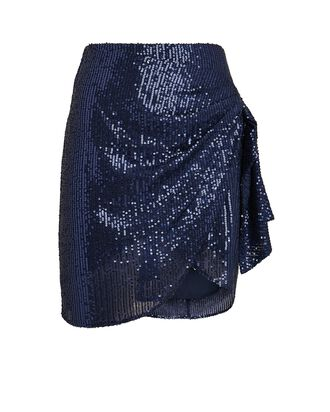 Koren Draped Sequin Mini Skirt, NAVY, hi-res