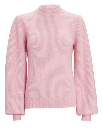 Balloon Sleeve Wool Sweater, PINK, hi-res