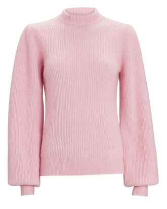 Balloon Sleeve Wool-Blend Sweater, PINK, hi-res