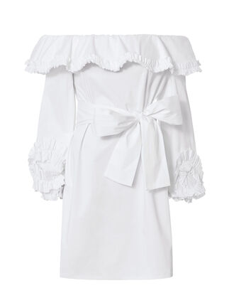 Miquela Off Shoulder Ruffle Dress, WHITE, hi-res