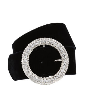 Clara Crystal Buckle Velvet Belt, BLACK, hi-res