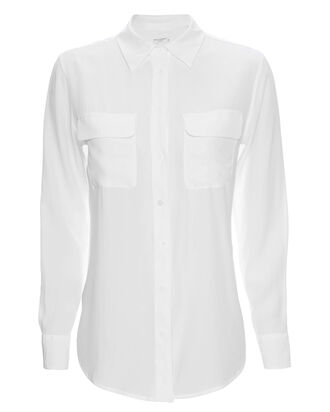 Slim Signature White Double Flap Pocket Blouse, WHITE, hi-res