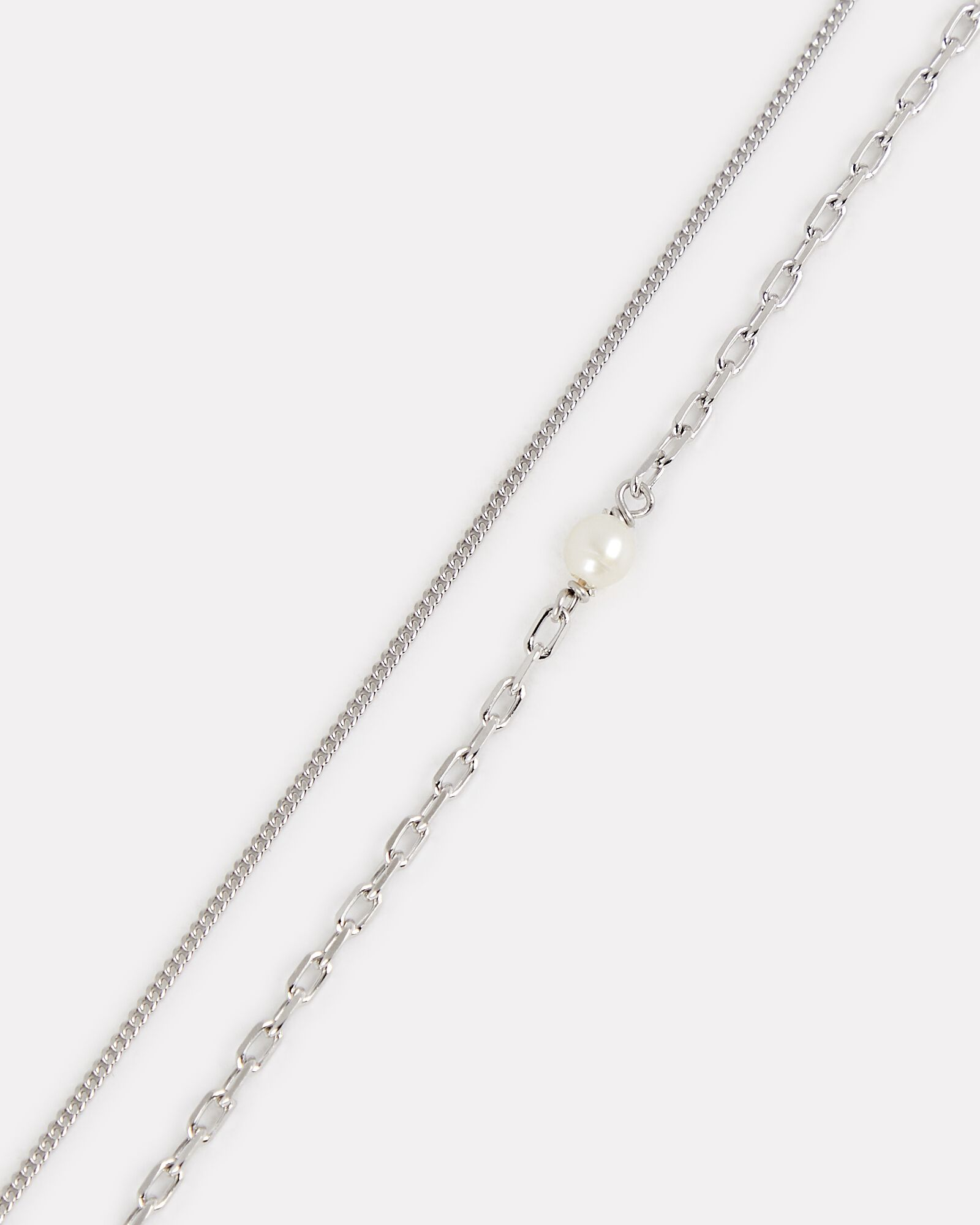 Cantare Pearl Chain-Link Necklace, SILVER, hi-res