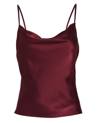 Fayette Cowl Neck Silk Camisole, RED-DRK, hi-res