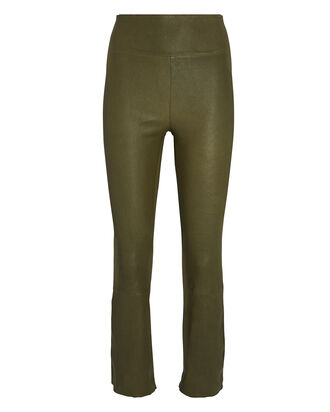 Cropped Flare Leather Leggings, OLIVE, hi-res