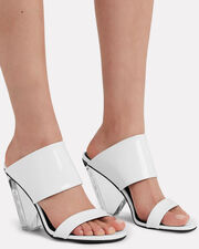 Lory Patent Leather Sandals, WHITE, hi-res
