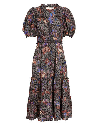 Virginie Floral Midi Dress, BLACK/BLUSH, hi-res