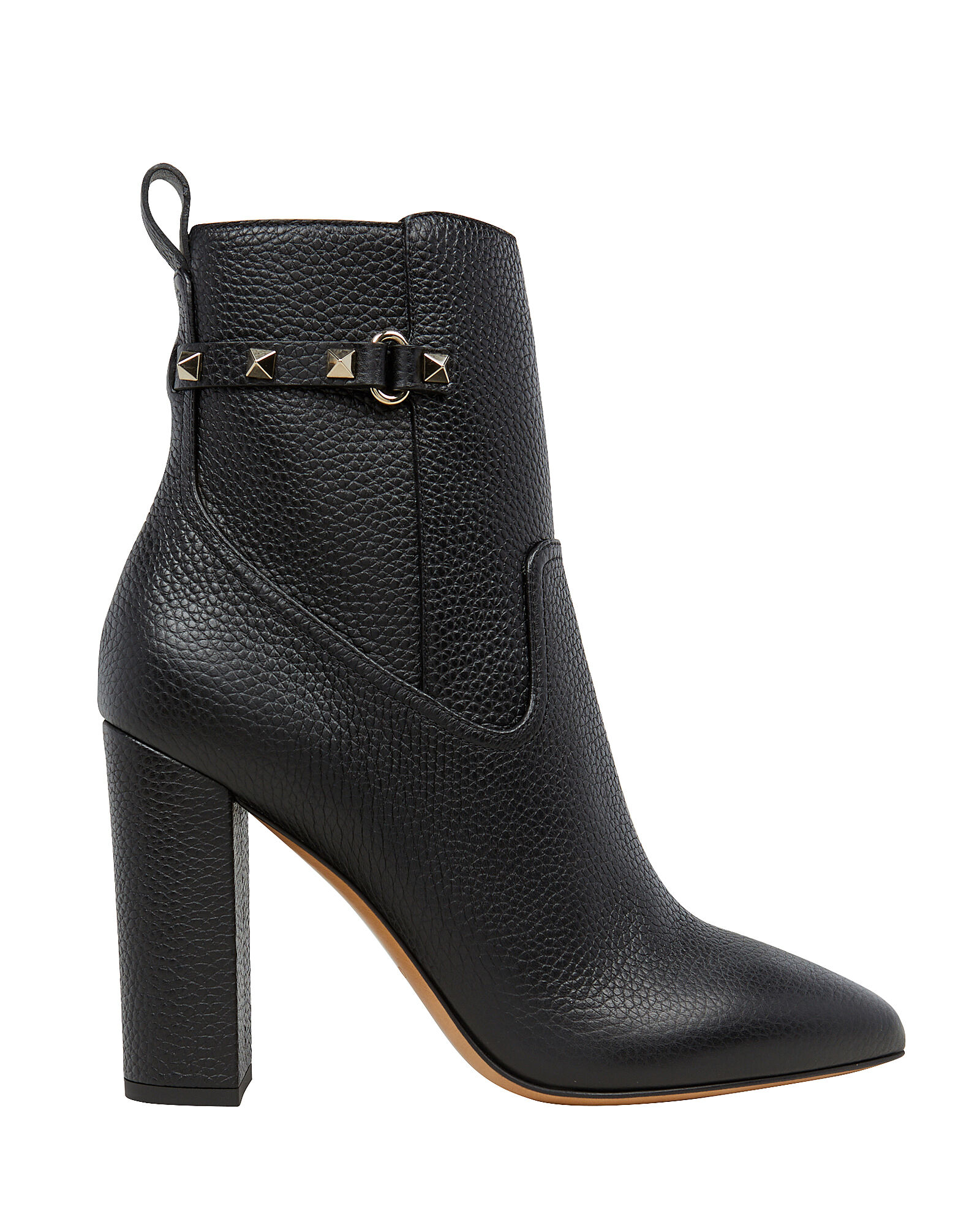 Rockstud Block Heel Booties, BLACK, hi-res