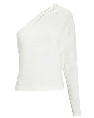 Alloy One-Shoulder Top, WHITE, hi-res