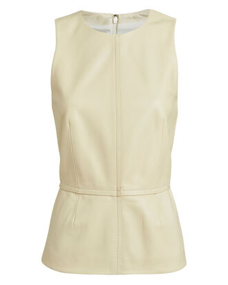 Sleeveless Leather Top, IVORY, hi-res