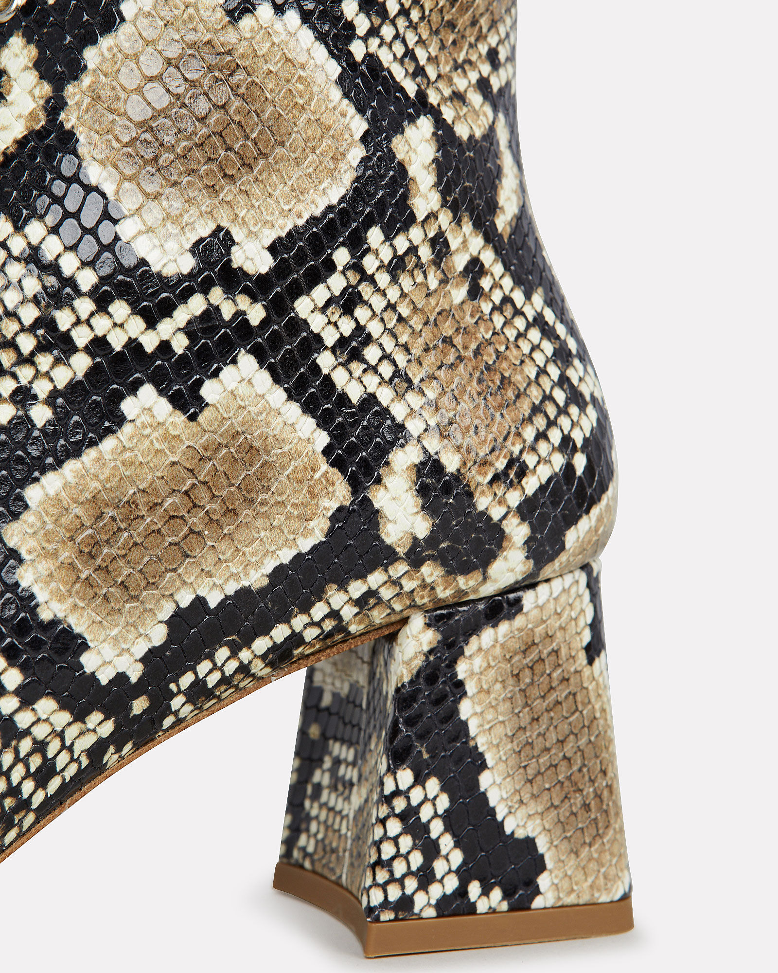 Becca Python-Print Leather Booties, GREY, hi-res