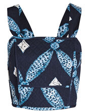 Vivi Quilted Cotton Crop Top, BLUE-MED, hi-res