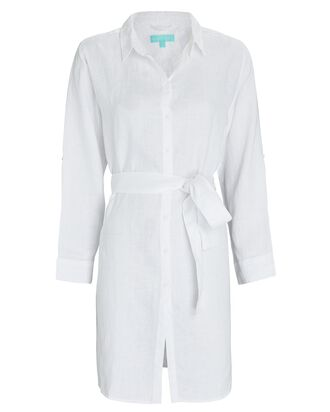 Marianne Linen Mini Shirt Dress, WHITE, hi-res