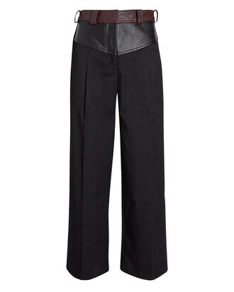 Maverick Leather-Trimmed Pants, BLACK, hi-res