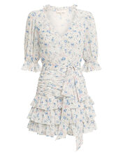 Hannah Floral Silk Ruffled Dress, IVORY/FLORAL, hi-res