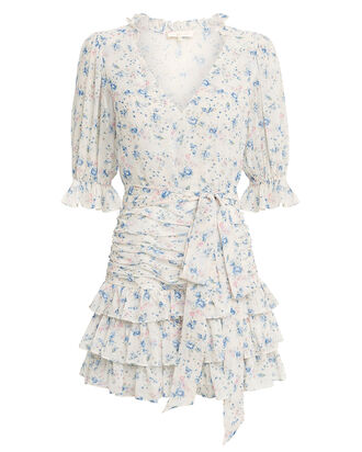 Hannah Floral Silk Ruffled Dress, MULTI, hi-res