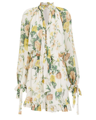 Zippy Neck Tie Crepe Playsuit, IVORY/FLORAL, hi-res
