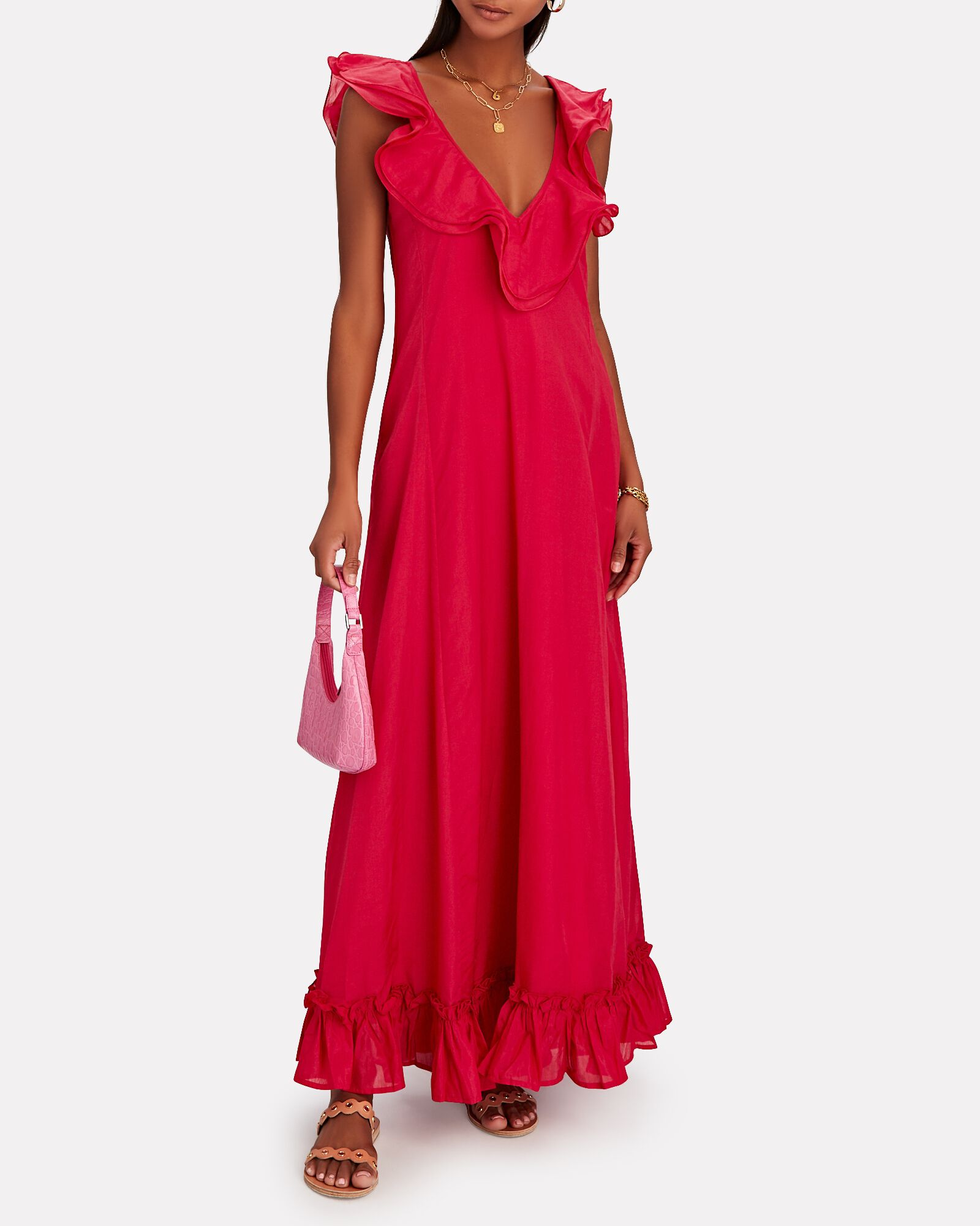 Ambra Ruffled Cotton-Silk Maxi Dress, PINK-DRK, hi-res